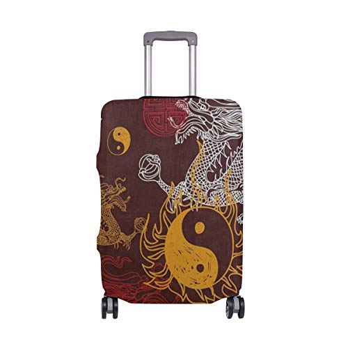 - Suitcase Cover Chinese Stylish Dragon Yin Yang Luggage Cover Travel Case Bag Protector for Kid Girls
