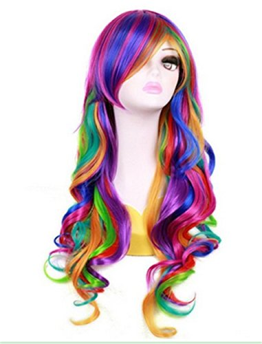 Meditative Rose 70cm/27.5'' Rainbow Colour Wavy Curls Long Wig (Color Wig)
