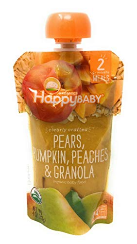 Happy Baby, Baby Food Pouch Pears Pumpkin Peaches Granola Organic, 4 Ounce
