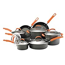Rachael Ray Hard Anodized Nonstick Dishwasher Safe 14-Piece Cookware Set, Orange