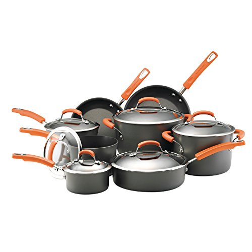 Rachael Ray Hard-Anodized Nonstick 14-Piece Cookware Set, Gray with Orange ()