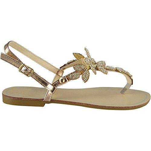 Womens Ladies Diamante Toe-Post Flat Bling Summer Peeptoe Sandals Shoes Sizes 3-8 Champagne hauHrBTv