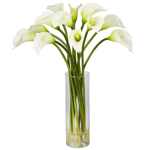 - Nearly Natural 1187-CR Mini Calla Lily Silk Flower Arrangement, Cream