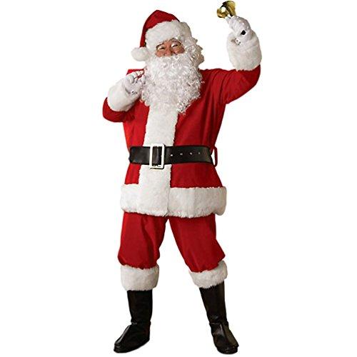 Christmas Santa Claus Costumes Plush Boy's Pub Flannel Crawl Santa Suit Xmas Suit (Child Santa Wig And Beard)