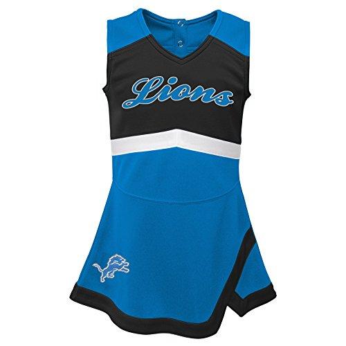 Detroit Lions Applique - Outerstuff NFL NFL Detroit Lions Infant Cheer Captain Jumper Dress Lion Blue, 18 Months