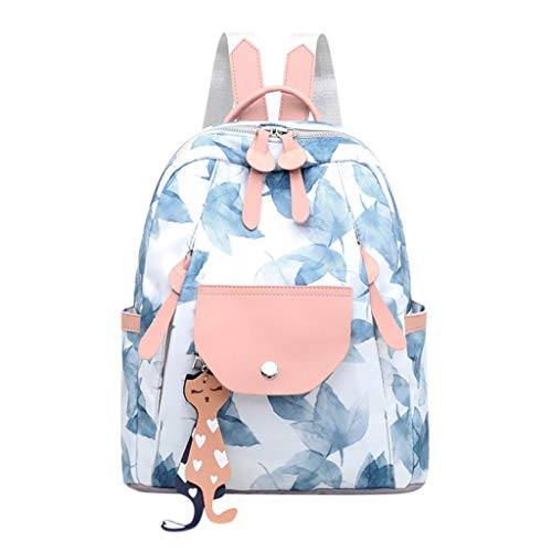 Haforever Fashion School Backpacks Student Women Ladies Fashion Leaves Graffiti School Handbag Tote Shoulder Backpack Bags
