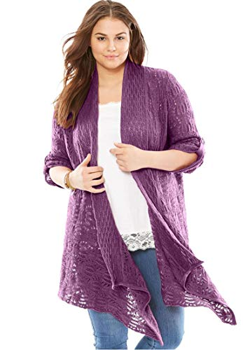 Woman Within Plus Size Open Front Pointelle Cardigan