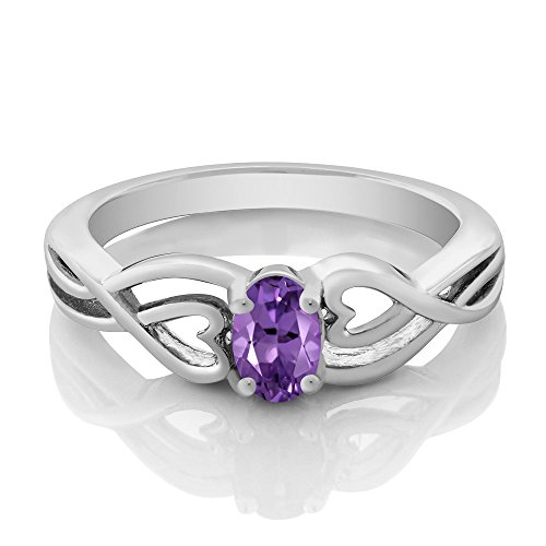 Gem Stone King Sterling Silver Oval Purple Amethyst Gemstone Birthstone Women s Ring 0.45 cttw Available 5,6,7,8,9