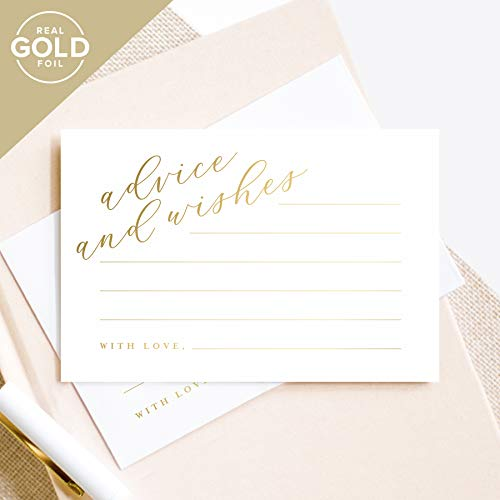Gold Advice and Wishes Cards, Perfect for the Bride and Groom, Mr and Mrs, Baby Shower, Bridal Shower, Wedding, Graduation or special event - 50 Pack of 4x6 Cards from -