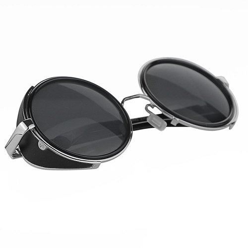 Vintage 50s Steampunk Hippie Cyber Sunglasses Retro Mirror lens Round Metal - Goggles Purchase Online