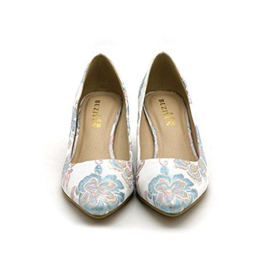 quotidien peu talon brodés profonde pour femmes blanc simples hauts talons chaussures rugueux à confortables white Mesdames pointues bureau chaussures XIE bouche PU4pA4