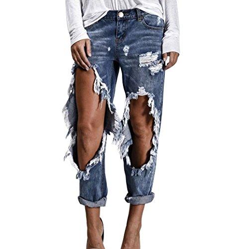 Donna Pantaloni A Denim Distressed Blu Boyfriend Vita Jeans Alta Chiaro Strappati rpx6wEqra