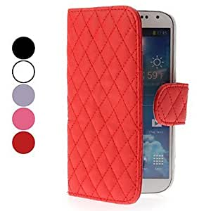 CeeMart Grid Design Leather Case with Card Slot for Samsung Galaxy S4 I9500 Purple