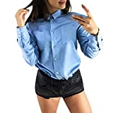 Product review for Respctful ♪☆ Women Ladies Solid T Shirt Long Sleeve Tops Kent-Neck Shirt Button-Down Blouse Casual Tops