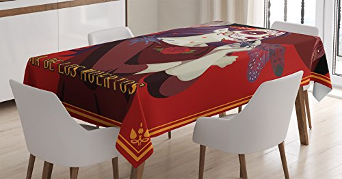 Day Of The Dead Decor Tablecloth by Ambesonne, Skull Dead Corpse Cute Girl with Hat and French Dress, Dining Room Kitchen Rectangular Table Cover, 52W X 70L Inches, Maroon Ruby and (Day Of The Dead Party Ideas)