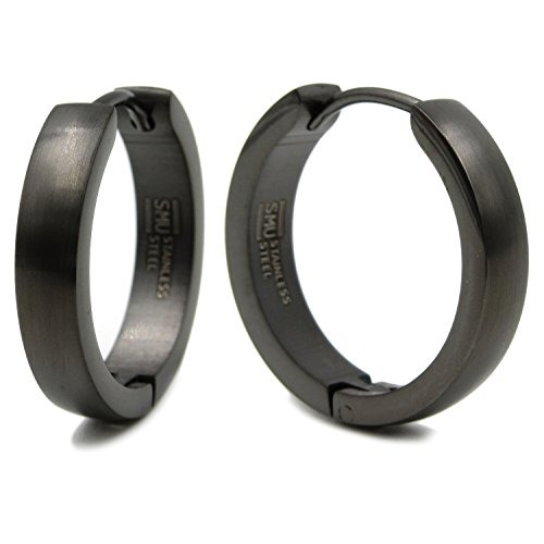 Stainless Steel Curved Face Round Hoop Earrings Brush Gunmetal 20mm