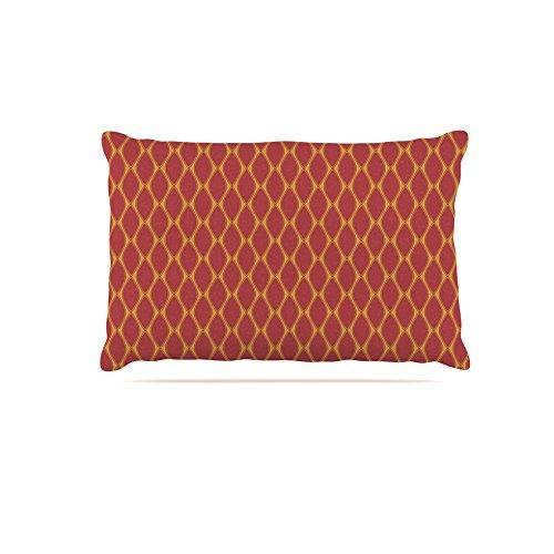 Kess InHouse Nandita Singh Marsala & Mustard  Pattern Fleece Dog Bed, 50 by 60 , Red