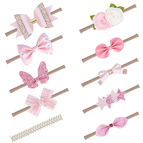 (Rabbit Ears Cloth Bow–Stretch Headbands for Baby Toddler Girls Birthday, Party,Shower (Multicolored Pink 10pcs))