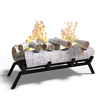 """Regal Flame Birch 18"""" Ethanol Fireplace Grate Log Set with Burner Insert For Easy Conversion from Gas Logs, Gel, Wood Log, Electric Log, Electric Fireplace Insert or Wood Burning Fireplace Insert"""