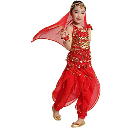 MUNAFIE MUNAFIE Kid's Belly Dance Costumes Fancy Party Multicultural Show Costumes Set (M, Red) (Red Belly Dancing Costume)