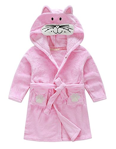 Cute Hooded Animal Plush Bathrobe Warm Cartoon Terry Pajamas Sleepwear for Baby Girl Boy, Pink Cat, 6-7 Years (50.7 inches - And Run Swim Shop