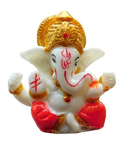Satre Online And Marketing 2.6' Small Ganesha Statue/Mini Lord Ganesh/Ganpati Polyresin Idol / (Red) ST00000188