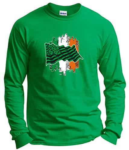 Irish Shamrock Green 4 Leaf Clover Gifts Lucky Irish Gifts Irish American Shamrock Flag Long Sleeve T-Shirt 3XL Green