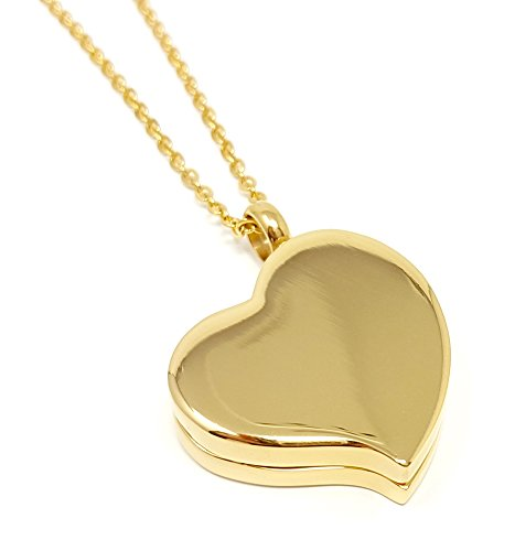 Amour Heart Pill Necklace - Polished Heart Locket with Strong Magnetic Closure - Medication Necklace - Keep Your Medication Securely with You at All Times - Locket Necklace with 26 Inch Chain (Gold)]()