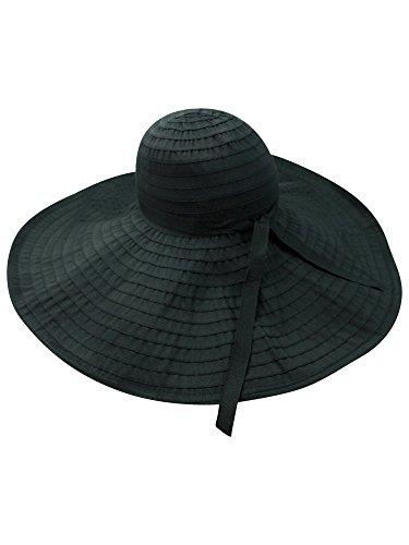 "Luxury Divas Black Ultra Wide 8"" Brim Shapeable Floppy Hat"