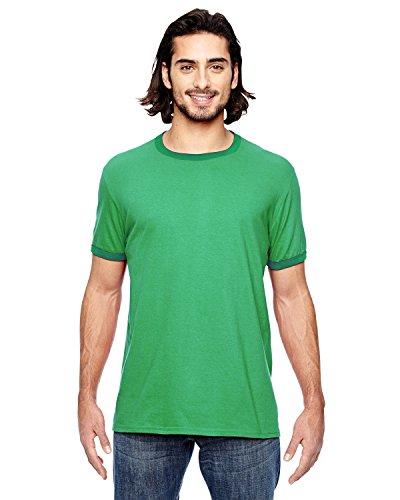 Anvil Adult Lightweight Ringer T-Shirt, Hthr Green/Kelly Green, Large