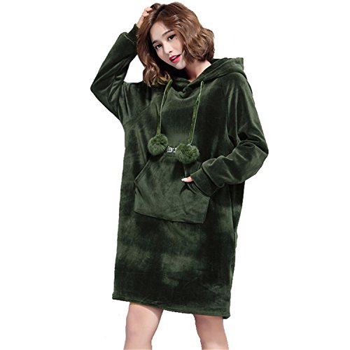 Desirca Oversize Plus Size Gold Velvet Dress Ladies Casual Hooded Dresses Lady Loose Tracksuit Sweatshirt Tunic Hoodies Green (Religion Womens Tracksuit)
