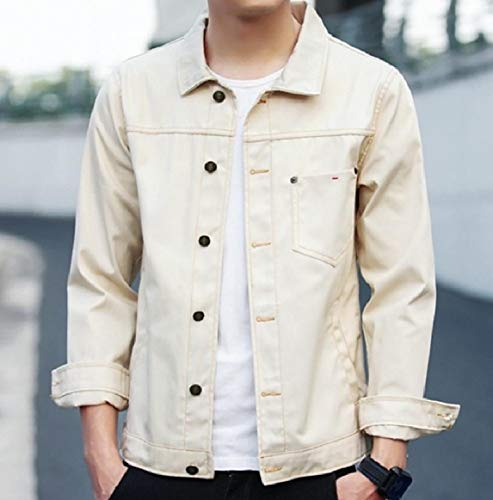 Turn RkBaoye Fit Denim Collar Slim Jacket Buttoned Down Pocket Beige Men's XqHgxqwR