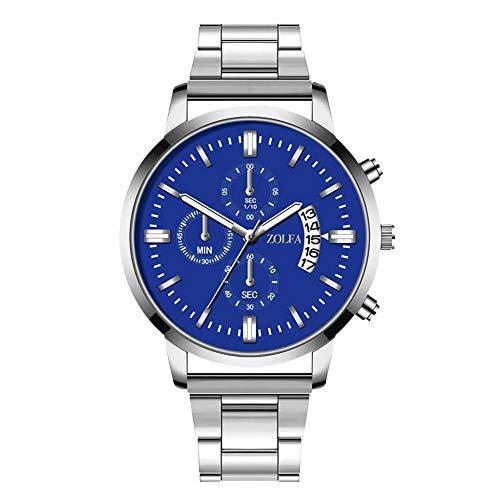 AGUIguo Mens Fashion Luxurious Quartz Watch,Stainless Steel Dial,Digital Wristwatch,Time Date Window (B)