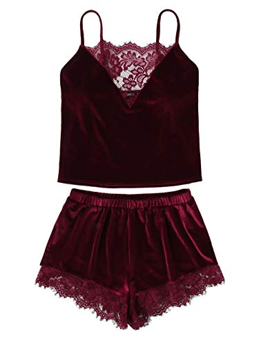 Lace Short Set - DIDK Women's Lace Trim Velvet Bralette and Shorts Pajama Set Burgundy M