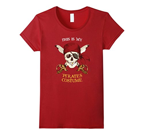 [Women's This is my Pirates Costume Tshirt Funny Skull Pirate XL Cranberry] (Red Skull Costume Amazon)