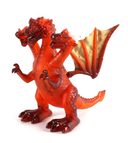 Dinosaur World Three Headed Winged Dino Dragon Battery Operated Walking Toy Dinosaur Figure w/ Realistic Movement, Lights and Sounds