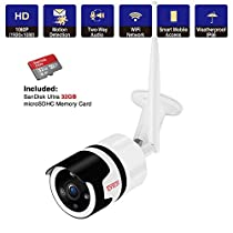 【2-Way Audio】Tonton 1080P Portable LCD Security Camera System Wireless, 4CH NVR Kit with 7 IPS Touchscreen Monitor and 2PCS 2.0MP Camera with PIR Sensor,Rechargeable Battery,32GB SD Card Preinstalled