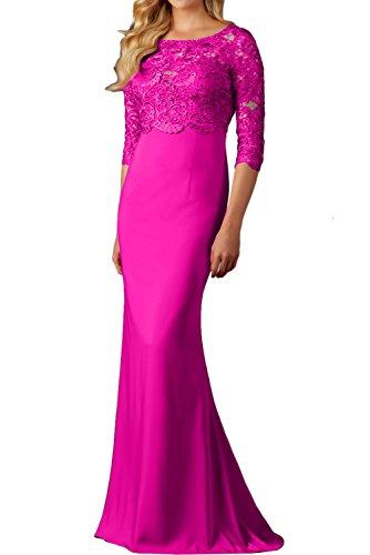 Spitzenkleider Ivydressing Promkleid lang Arm 4 Damen 3 Rundkragen Festkleid Fuchsie Ballkleid Abendkleider frrRI1w
