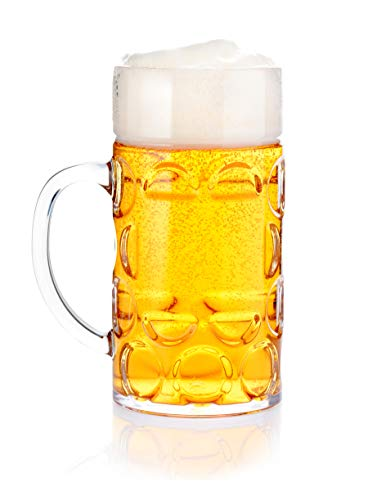 Oktoberfest Plastic Beer Mugs (32oz Plastic Beer Mug Bierstein (1 Liter) with Handles, Reusable, Dishwasher Safe, Plastic for Indoor/Outdoor)