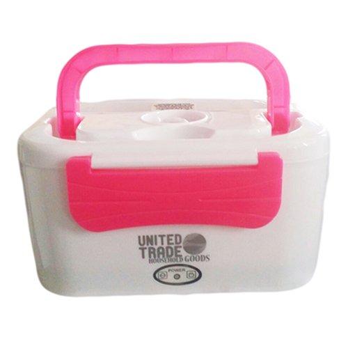 UNITED TRADE Portavivande 1,25L Scaldavivande Estraibile 2 Scomparti Elettrico Portatile 45W Bianco//Rosa