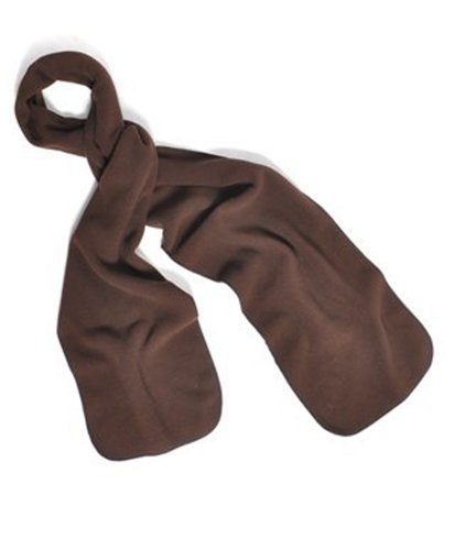 Solid Color 100% Polyester Fleece Unisex Winter Scarf (Brown)