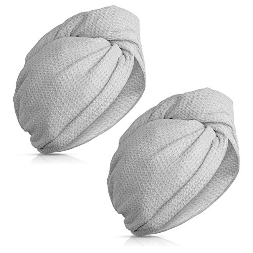 Navaris Microfiber Hair Turban Towels - Pack of 2 Absorbent Waffle Weave Towel Twist Wraps with Button to Dry Hair Faster After Bath or Shower - Gray