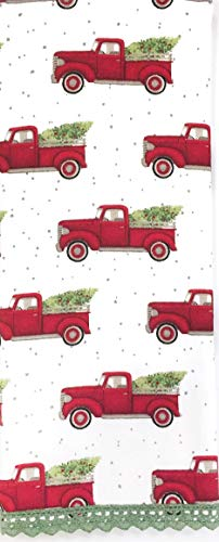 Red Truck Holiday Christmas 15''x28'' Kitchen Towel - Vintage Red Pick-up Truck with Evergreen Tree