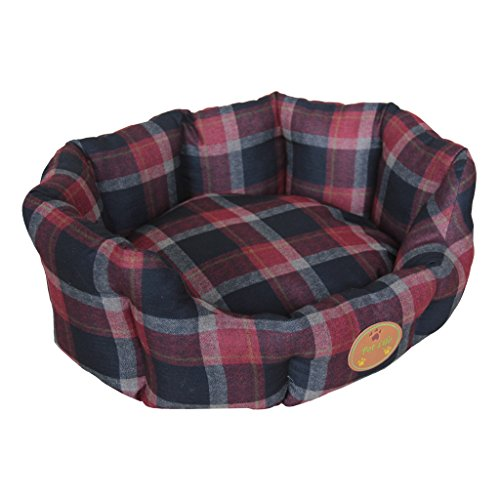 PET LIFE 'Wick-Away' Wick-proof Nano-Silver and Anti-Bacterial Water Resistant Rounded Circular Pet Dog Bed Lounge, Small, Red, Blue Plaid
