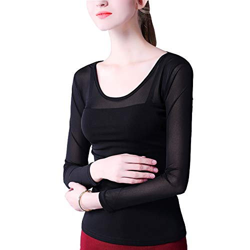 QJKai Autumn and Winter Bottoming Shirt Ladies Long-Sleeved t-Shirt mesh Large Size Slim Gauze - Cashmere Gauze