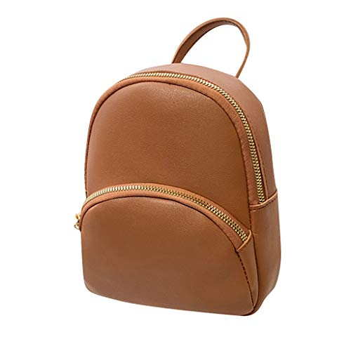 Fashion Lady Shoulders Small Backpack with Headphone Plug Letter Purse Mobile Phone Messenger Bag (Brown)