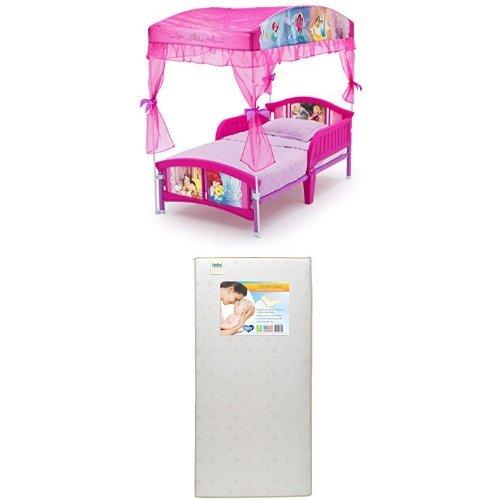 Delta Children Canopy Toddler Bed, Disney Princess  with Twinkle Stars Crib & Toddler Mattress by Delta Children