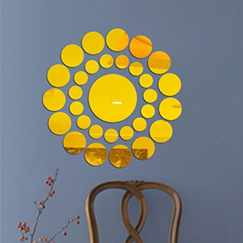 Home Décor Usstore 1PC Round Mirror Acrylic Surface Decal Stickers Decoration For Bedroom living bathroom House Shop Office Windows Decor Ornament (Gold)