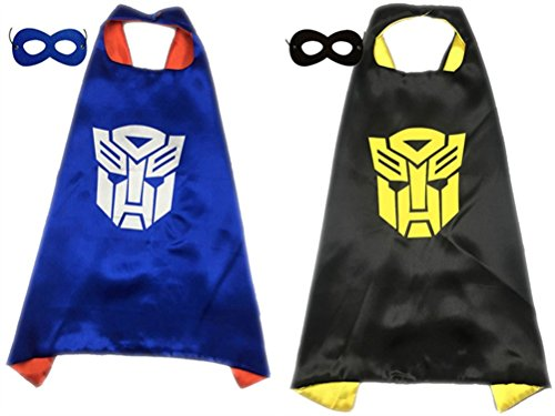 Pack of 2 Superhero Princess CAPE & MASK SET Kids Children's Halloween Costume (Optimus Prime & Bumblebee)