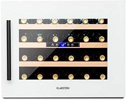 Klarstein Vinsider - Built-In Duo Quartz Edition nevera de vinos encastrable, marco de cristal de cuarzo con vidrio frontal, 2 zonas, 5 – 22 °C, eficiencia energética Ge clase G, 24 botellas, blanco[Clase de eficiencia energética G]